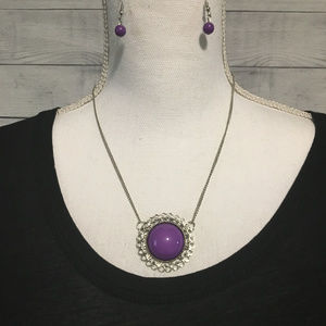 Paparazzi Purple and Silver Statement Necklace